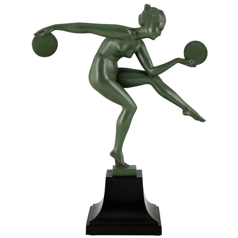 Art Deco Sculpture Nude Disc Dancer Derenne, Marcel Bouraine, France, 1930 For Sale
