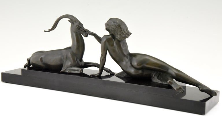 Art Deco sculpture nude & gazelle Seduction Fayral Pierre Le Faguays France 1930 In Good Condition For Sale In Antwerp, BE