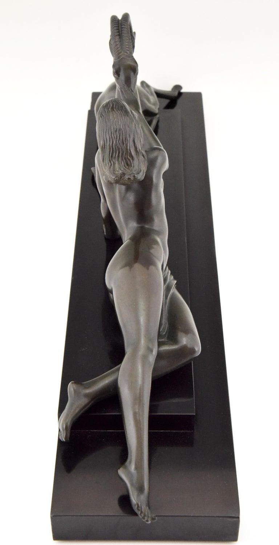 Mid-20th Century Art Deco sculpture nude & gazelle Seduction Fayral Pierre Le Faguays France 1930 For Sale