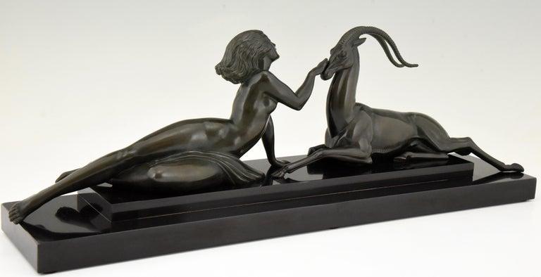 Metal Art Deco sculpture nude & gazelle Seduction Fayral Pierre Le Faguays France 1930 For Sale