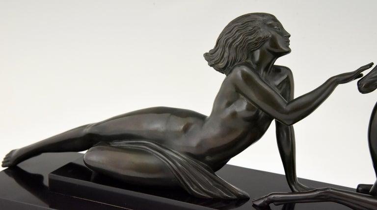 Art Deco sculpture nude & gazelle Seduction Fayral Pierre Le Faguays France 1930 For Sale 1