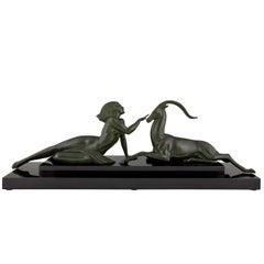 Art Deco Skulptur, Akt mit Gazelle Verführung von Fayral Pierre Le Faguays