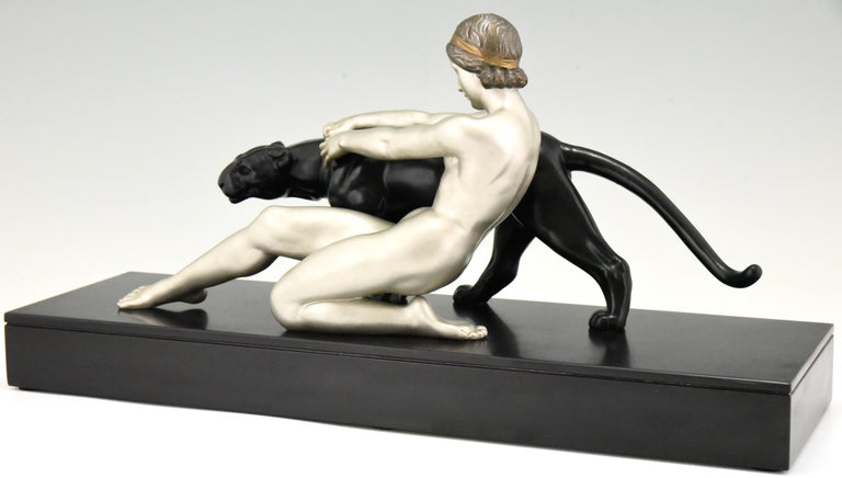 Art Deco Sculpture Nude with Panther Alexandre Ouline, France, 1930 For Sale 3
