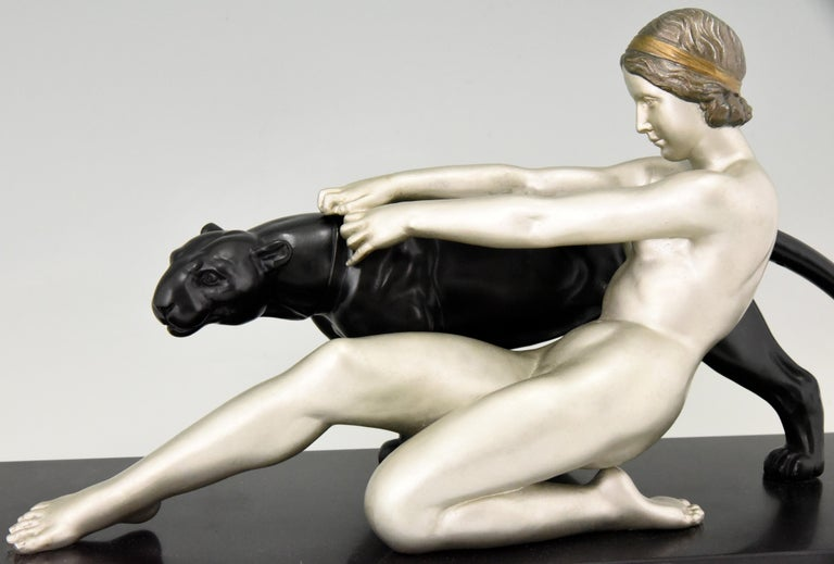 Art Deco Sculpture Nude with Panther Alexandre Ouline, France, 1930 For Sale 4