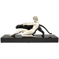 Art Deco Sculpture Nude with Panther Alexandre Ouline, France, 1930
