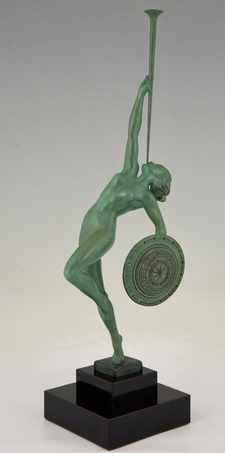 French Art Deco Sculpture Nude with Trumpet by Guerbe on