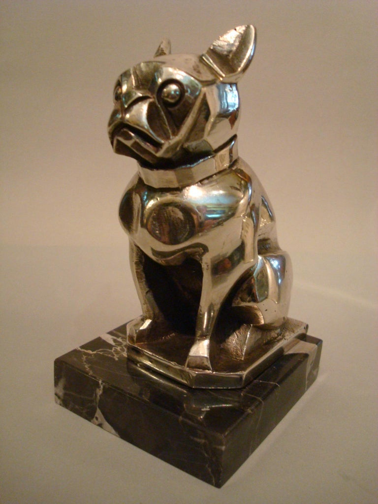 Bronze Art Deco Sculpture of a French Bulldog Bookend or Paperweight, France, 1920s For Sale