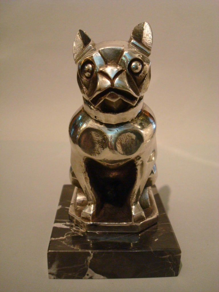 Art Deco Sculpture of a French Bulldog Bookend or Paperweight, France, 1920s For Sale 1