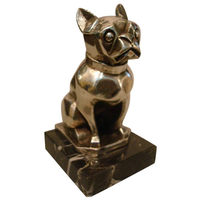 Art Deco Sculpture of a French Bulldog Bookend or Paperweight, France, 1920s For Sale