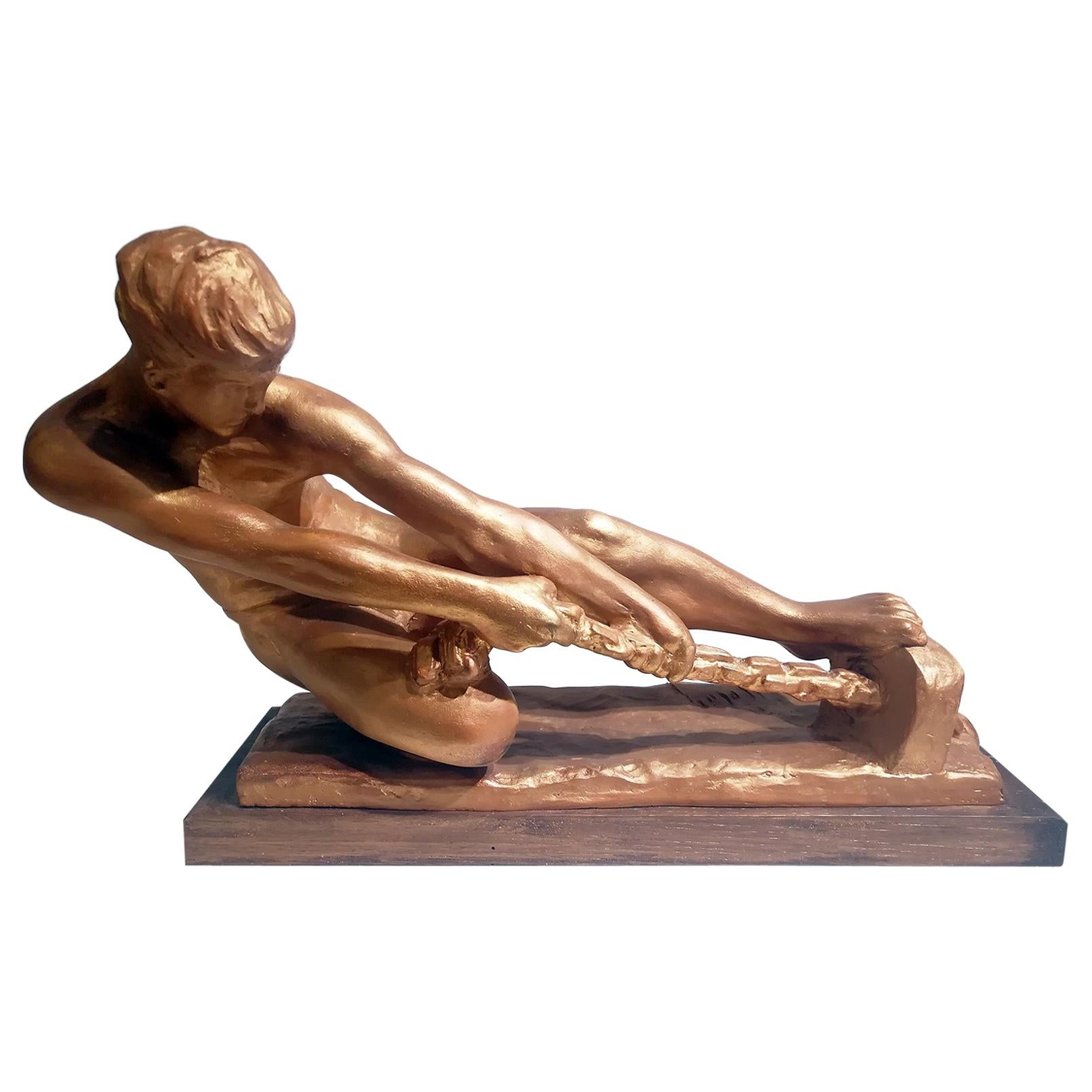 """Art Deco Sculpture of a Male Pulling a Rope signed """"Alexandre Kelety"""""""
