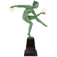 Art Deco Sculpture of a Nude Disc Dancer Derenne, Marcel Bouraine