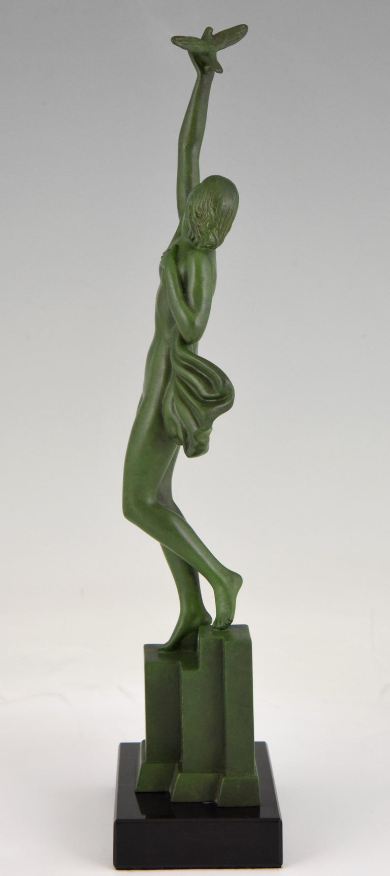 French Art Deco Sculpture of a Nude with Dove Fayral Pierre Le Faguays, France, 1930 For Sale