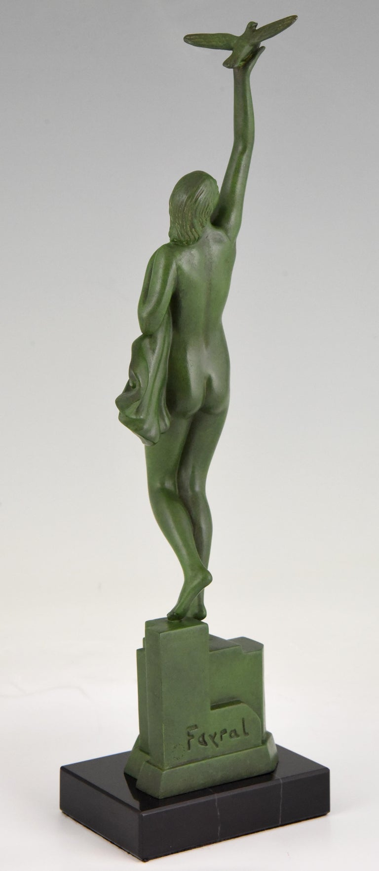 Patinated Art Deco Sculpture of a Nude with Dove Fayral Pierre Le Faguays, France, 1930 For Sale