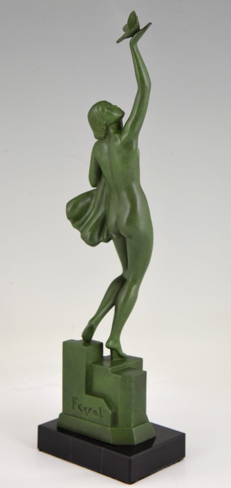 20th Century Art Deco Sculpture of a Nude with Dove Fayral Pierre Le Faguays, France, 1930 For Sale