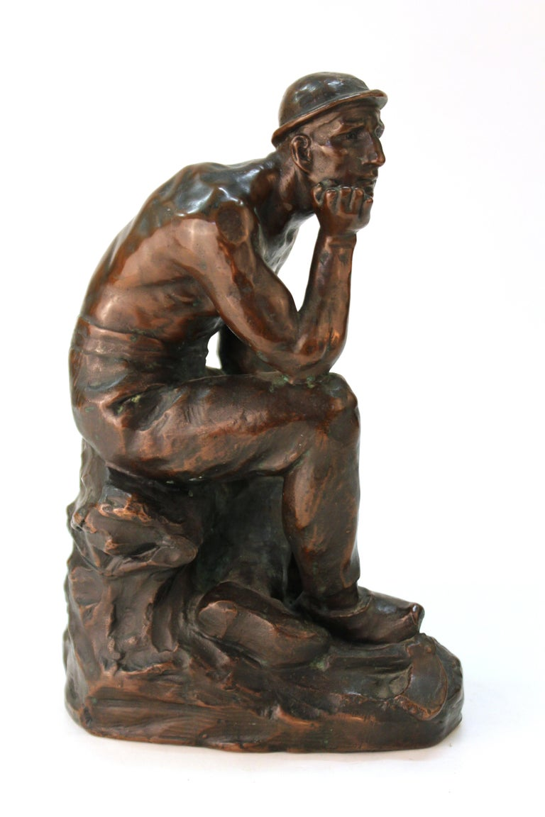 European Art Deco Sculpture of an Industry Worker For Sale
