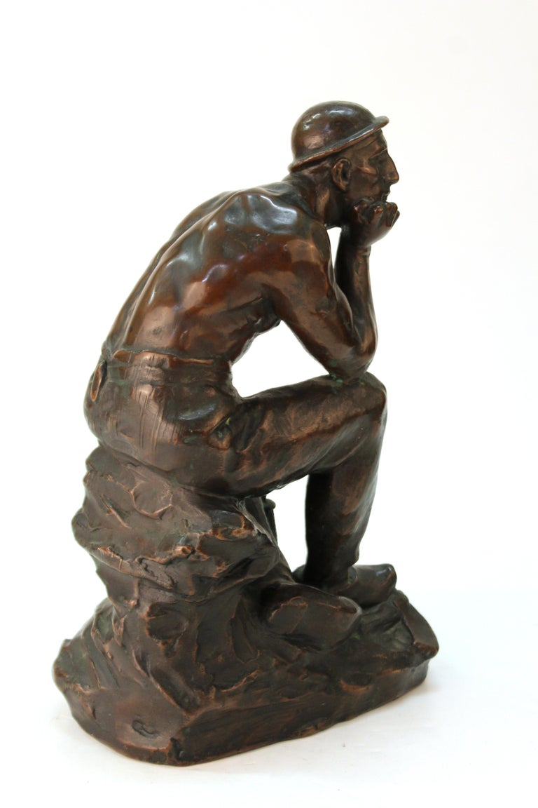 Art Deco Sculpture of an Industry Worker In Good Condition For Sale In New York, NY
