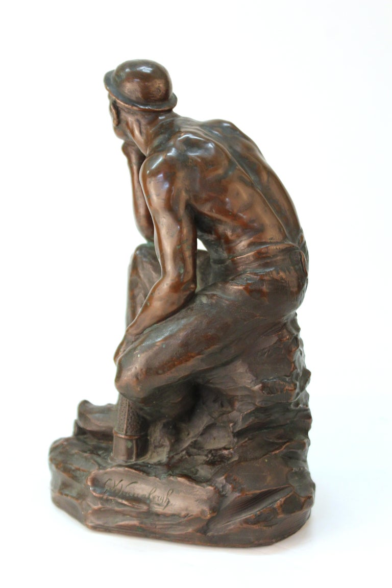 Metal Art Deco Sculpture of an Industry Worker For Sale