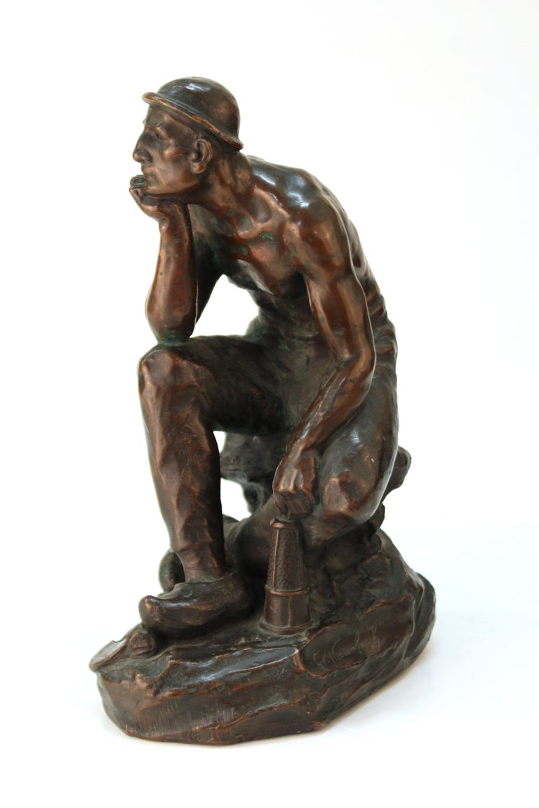 Art Deco Sculpture of an Industry Worker For Sale 1