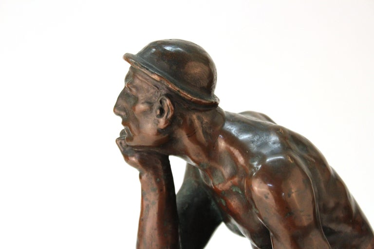 Art Deco Sculpture of an Industry Worker For Sale 3