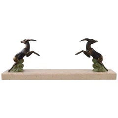 Art Deco Sculpture of Jumping Bucks in Patinated Metal on Marble Base, 1930s
