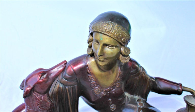 North American Art Deco Bronze Lady with Dog, Marble Base after Menneville For Sale