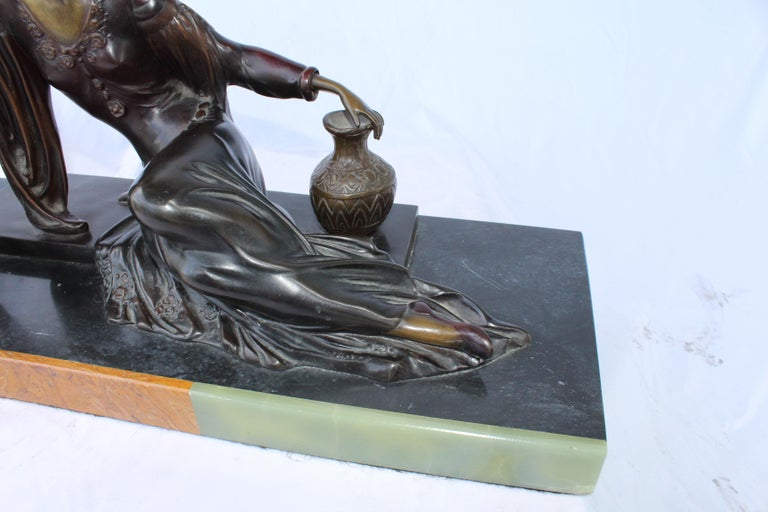 Contemporary Art Deco Bronze Lady with Dog, Marble Base after Menneville For Sale