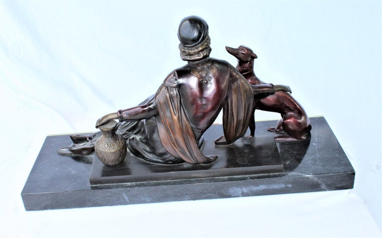 Art Deco Bronze Lady with Dog, Marble Base after Menneville For Sale 1