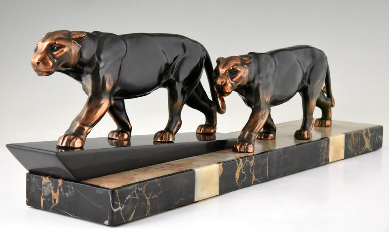 French Art Deco Sculpture of Two Panthers Alexandre Ouline, France, 1930 For Sale