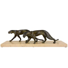 Art Deco Sculpture of Two Panthers M. Font, France, 1930