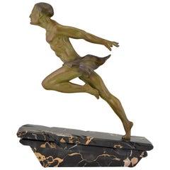 Art Deco Sculpture Running Man or Athlète L. Valderi, France, 1930