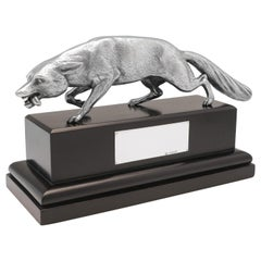 Art Deco Sculpture, Sterling Silver Fox Model, 1935 Goldsmiths & Silversmiths