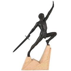 Art Deco Sculpture Sword Fighter on a Rock, the Challenge Max Le Verrier, 1930