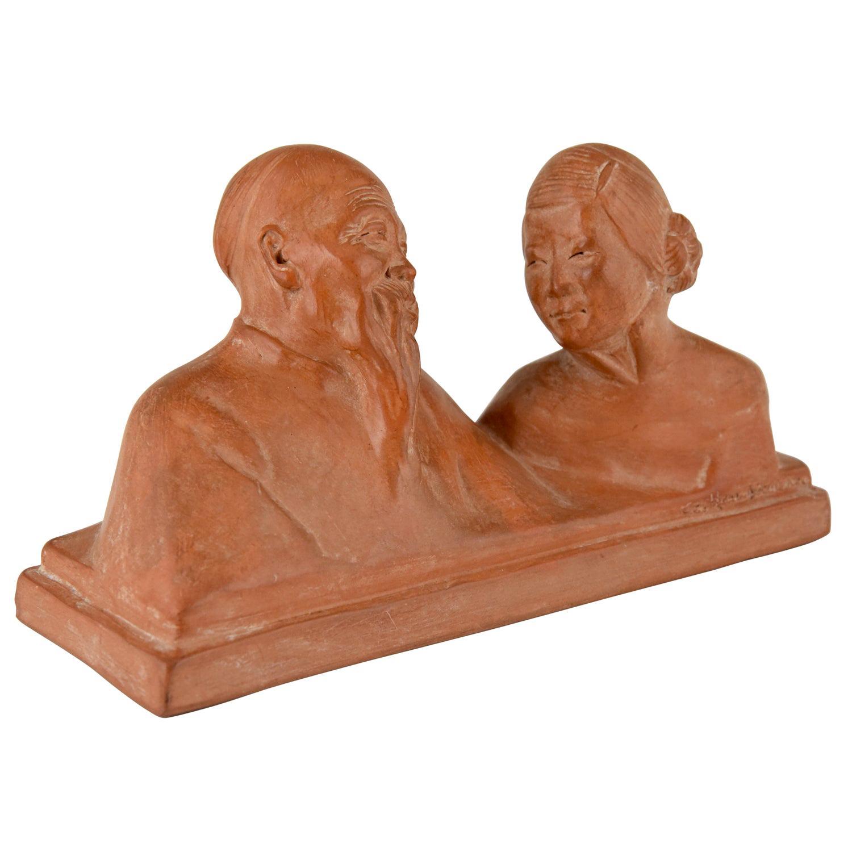 Art Deco Sculpture Terracotta Chinese Couple by Gaston Hauchecorne France 1925