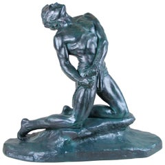 "Art Deco Sculpture ""The Slave"" Signed by O. Merval, France, circa 1925-1930"