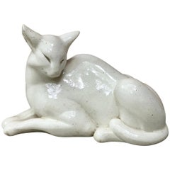 Art Deco Sculpture White Cat Primavera, circa 1940