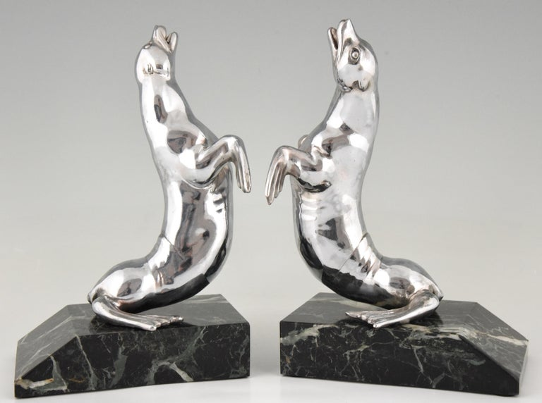 French Art Deco Seal Bookends Louis Albert Carvin, France, 1930 For Sale