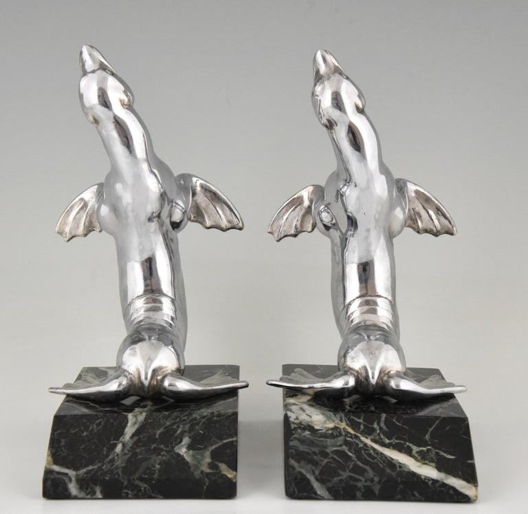 Polished Art Deco Seal Bookends Louis Albert Carvin, France, 1930 For Sale
