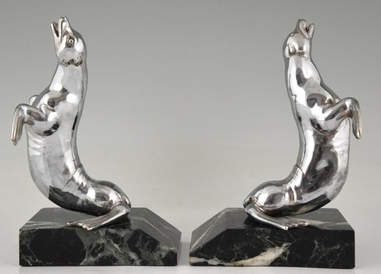 Art Deco Seal Bookends Louis Albert Carvin, France, 1930 In Good Condition For Sale In Antwerp, BE
