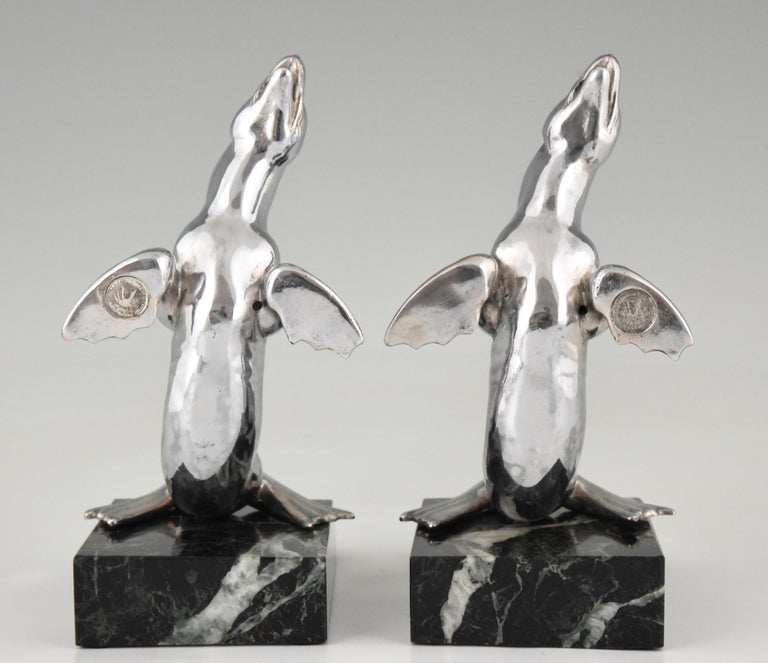 20th Century Art Deco Seal Bookends Louis Albert Carvin, France, 1930 For Sale
