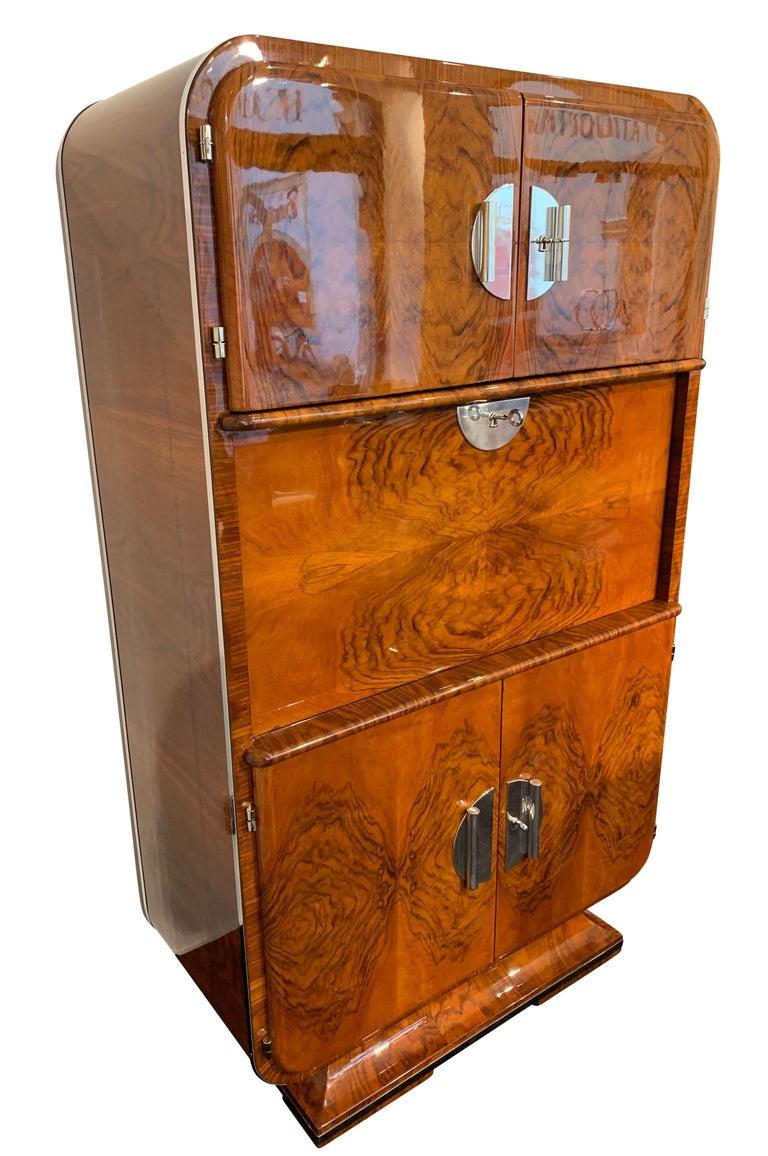 Luxury Showcase For Living Room Royal Art Deco: Art Deco Secretaire, Walnut Veneer, France, Circa 1930 For