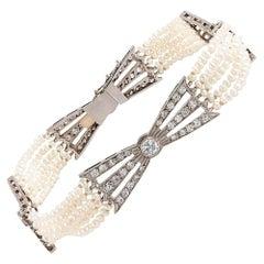 Art Deco Seed Pearl and Diamond Bow Bracelet
