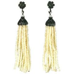 Art Deco Seed Pearl Tassel Earrings