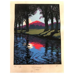 Art Deco Serigraph Landscape by Artist Ernesto Garcia Cabral Signed & Dated