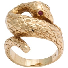 Art Deco Serpent Ring with Ruby Eyes