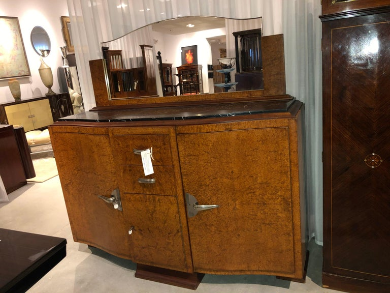 20th Century Art Deco Server with Marble Top For Sale