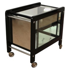 Art Deco Serving Table, Black Lacquer and Glass, France, circa 1930