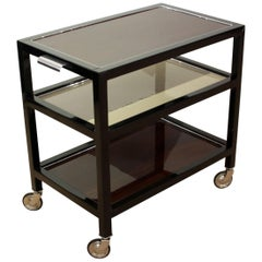 Art Deco Serving Table, Rosewood and Black Lacquer, France, circa 1940