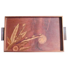 Art Deco Serving Tray with Exotic Wood Marquetry
