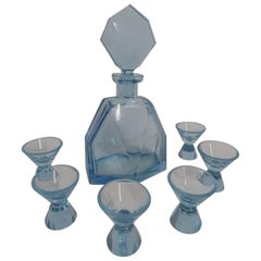 Art Deco Set Decanter and 6 Glasses from 1930