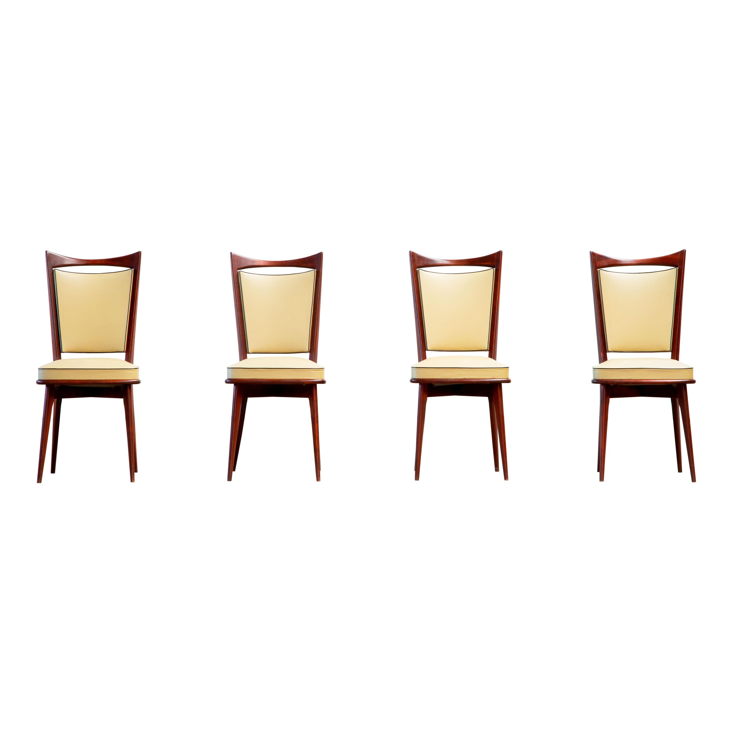 Art Deco Set of 4 Chairs, France, 1940